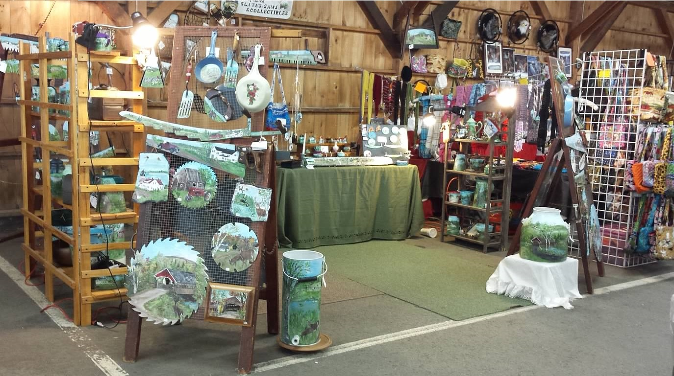 Barb's Handpainted Saws, Slates & Collectibles Display